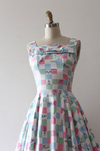 vintage 1950s CHESS game dress with full circle skirt