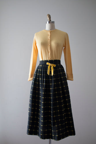 vintage 1950s black wool and yellow skirt