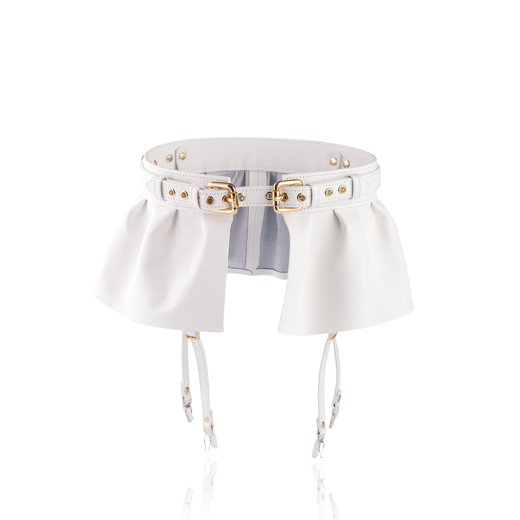 "Fetish Basque Skirt With Garters ""Calypso"" White"