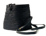 Gaia - Classic Black Rattan Backpack - Salt and Tan