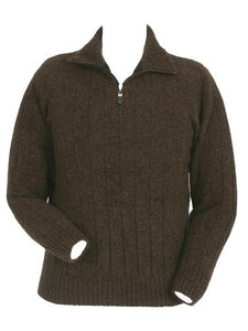 Brown Marl Men's Zip Collared Rib Jumper