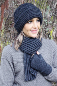 Charcoal Ribbed Clouche Hat