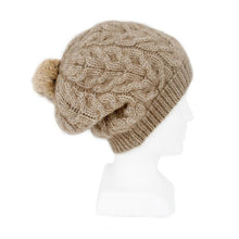 Load image into Gallery viewer, Natural Relaxed Cable Beanie with Rabbit Fur Pompom