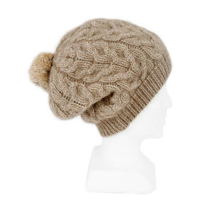Natural Relaxed Cable Beanie with Rabbit Fur Pompom