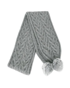 Silver Cable Scarf with Rabbit Fur Pompoms