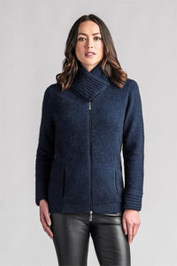 Possum and Merino  This stylish longline jacket features pockets to keep your hands cosy and rib detailing on the cuffs and collar.  Wear the collar crossed over and domed up to keep the cold out, or undomed and down to change the look.