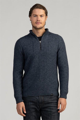 Possum and Merino  This classic cable sweater will be a go-to piece.  Featuring an intricate cable knit structure along with a zip pull and 'MM' branded pip made from New Zealand deer leather.