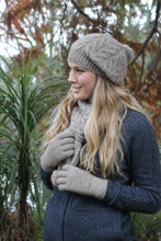 Load image into Gallery viewer, Natural Cable Scarf with Rabbit Fur Pompoms