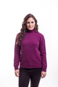 Berry Polo Neck Jersey with Lace Detail