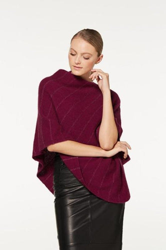 Berry Metallic Detail Poncho