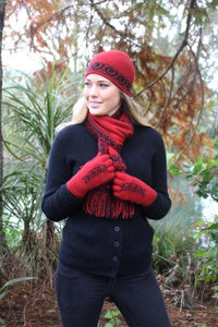 Red/Black Single Koru Beanie