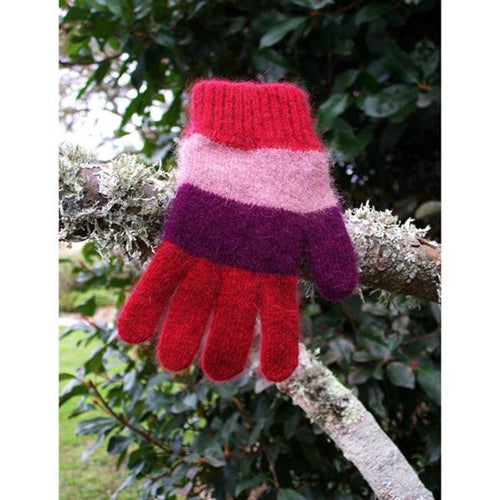 Child's Stripe Gloves Red