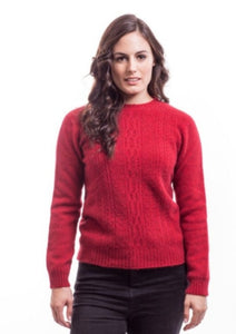 Red Crew Neck Jersey with Lace Detail
