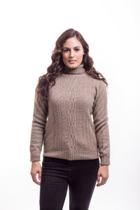 Mocha Polo Neck Jersey with Lace Detail