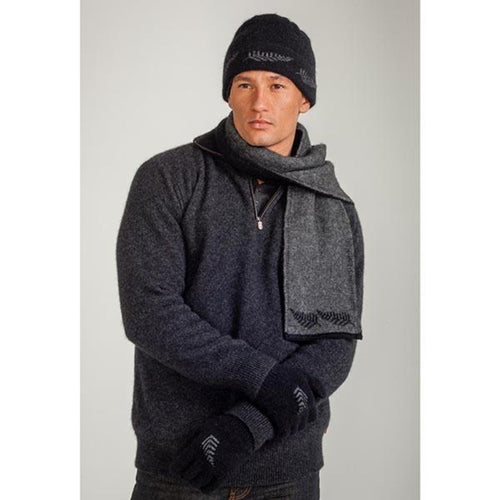 Black/ Grey Stunningly subtle Fern Beanie. Luxuriously warm and matched with a double thickness scarf KO149.