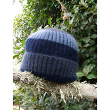 Load image into Gallery viewer, Childs Stripe Rib Beanie Blue
