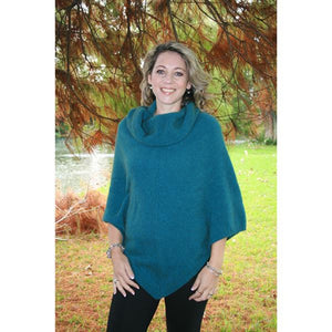 Teal Cowl Neck Poncho