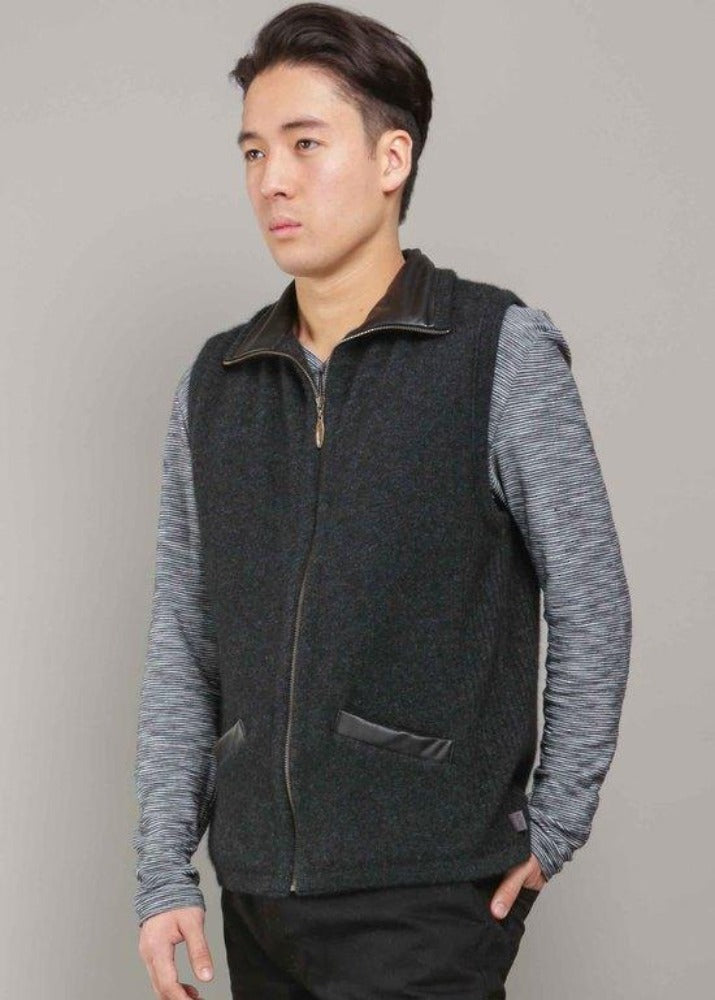Charcoal/Black  Leather Trim Vest