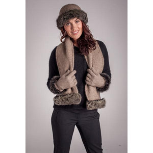 Mocha/Snowtip Fur Trim Gloves
