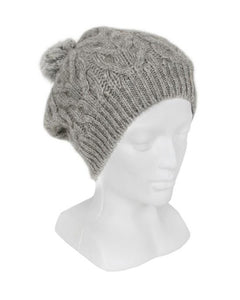 Silver Relaxed Cable Beanie with Rabbit Fur Pompom