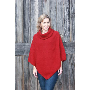 Red Cowl Neck Poncho
