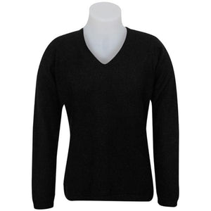 Black Vee Neck Plain Sweater