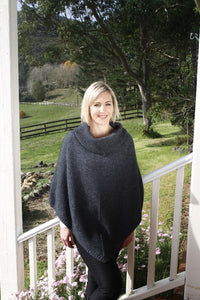 Charcoal Cowl Neck Poncho