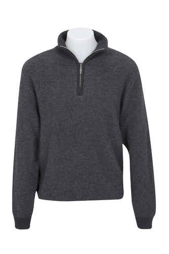 Charcoal Textured Half Zip Sweater