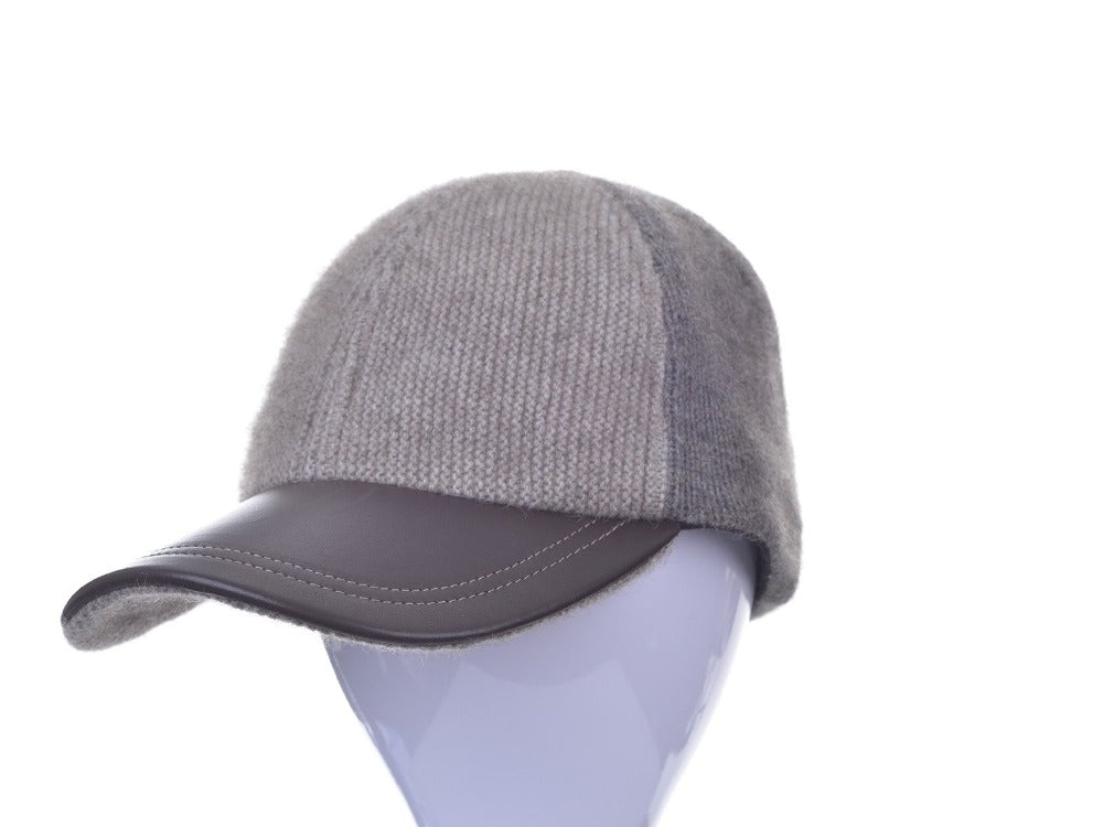 6071 Contrast Leather Peak Cap