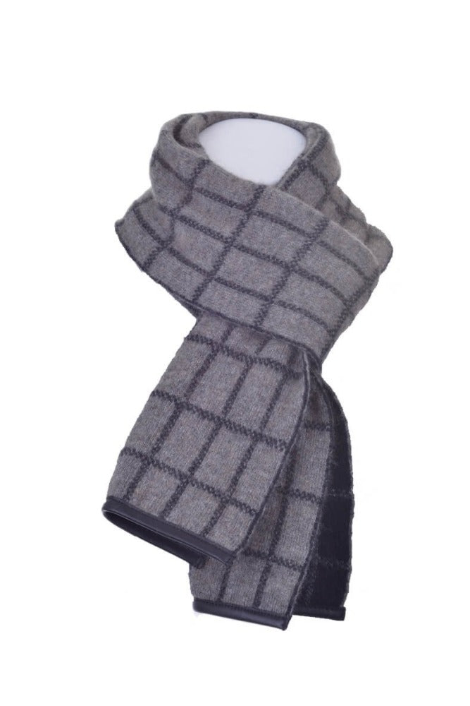 Bark/Black Checked Scarf with Lambskin Trim