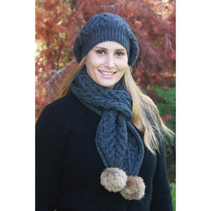 Charcoal Cable Scarf with Rabbit Fur Pompoms