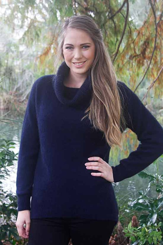 Midnight Longline Cowl Neck Tunic Jumper