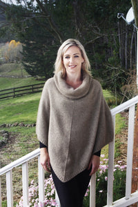 Natural Cowl Neck Poncho
