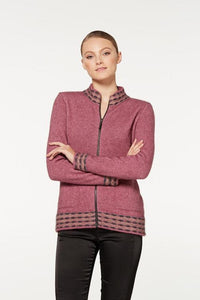 Heather Wave Trim Zip Cardigan