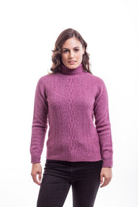 Heather Polo Neck Jersey with Lace Detail