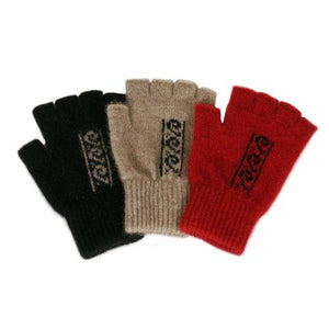 Black/Natural and Natural/Black and Red/Black Koru Pattern Fingerless Glove