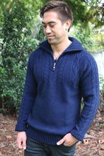 Load image into Gallery viewer, Possum and Merino.  This heavyweight chunky jumper is super warm.  All over moss stitch is accented by cable detail on the chest and sleeves.