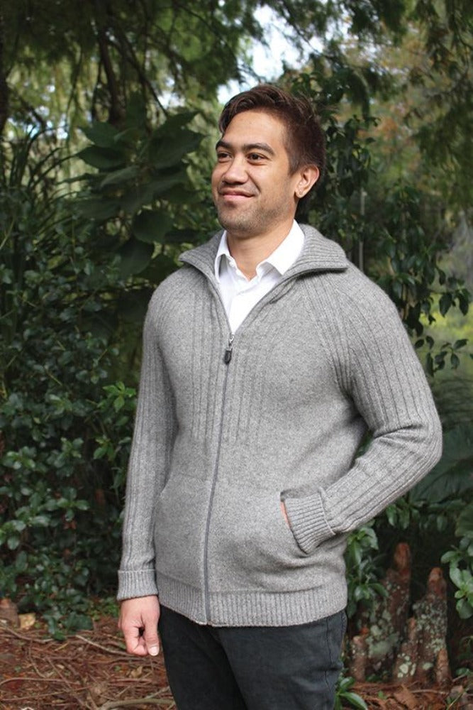 Possum and Merino.  Full zip jacket with pockets.  Sleeves fully ribbed with rib detail continuing on the chest and collar.