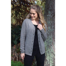 Load image into Gallery viewer, Possum and Merino.  Classic V-neck button cardigan with turnback cuffs.