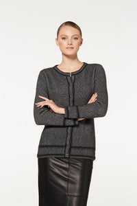 Pewter / Charcoal Two Tone Button Cardigan