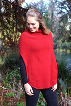 Load image into Gallery viewer, Softly draped turtleneck poncho with lace detail in neck/shoulder area.