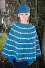 Load image into Gallery viewer, Possum and Merino.  Generous poncho featuring contrast colour motif.  For the colours Lagoon and Teal the white motif is Angora and Merino yarn and for the colour Red the pink motif is Possum and Merino yarn.