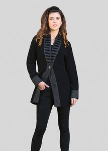 Fancy collar long line very warm jacket