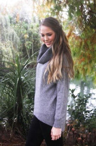 9843 Curved Hem Cowl Neck  Jumper