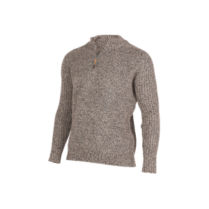 Rib and Plain Zip and Collar Sweater.   Rugged outdoor wear.