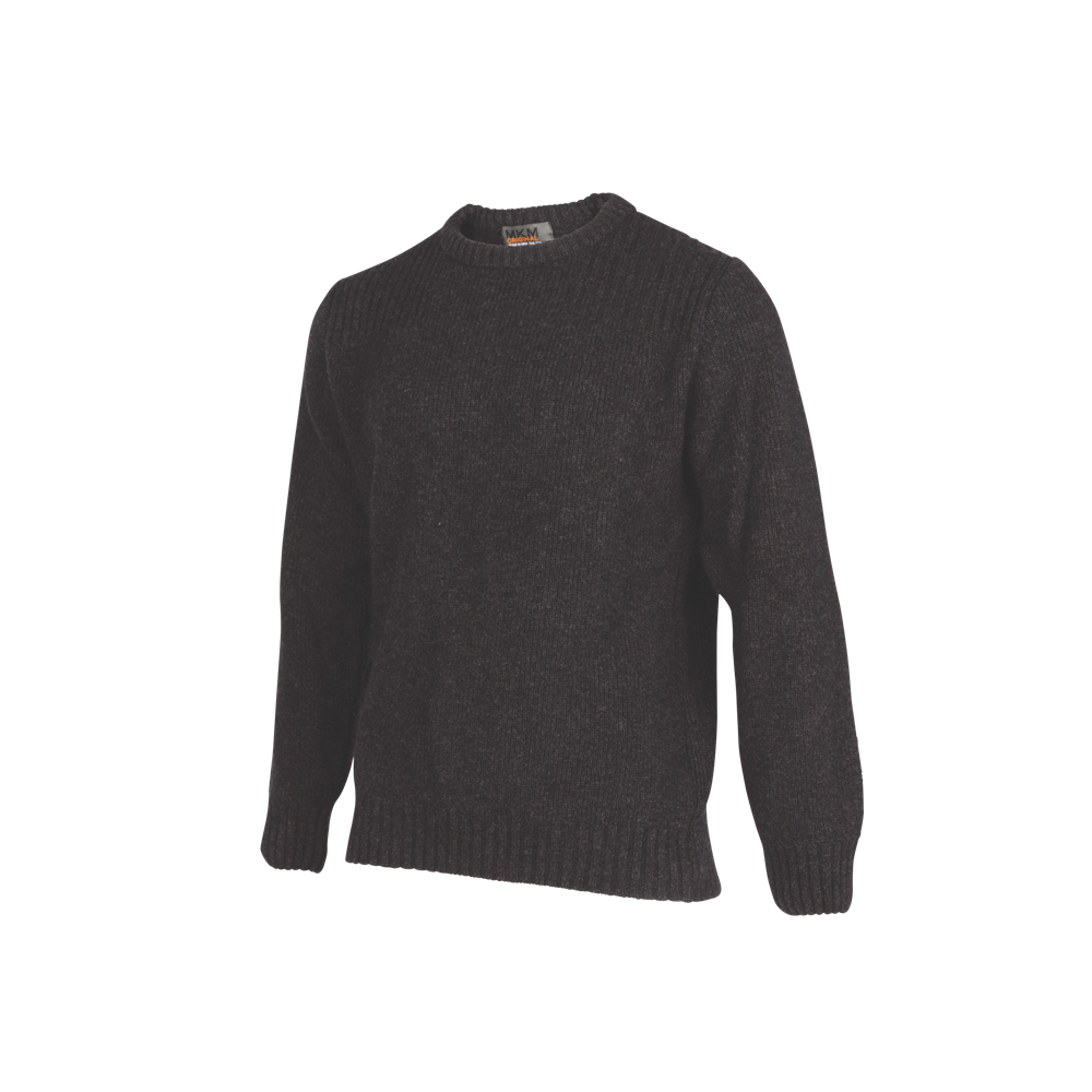 Crew Neck Rib Shoulder Sweater.   Rugged outdoor wear.