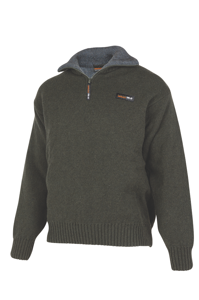 Mens 36.6° (unique double layer) Zip and Collar Sweater  A unique double layer system has been developed to help you maintain your optimum body temperature (36.6) in any situation.  Products using this dual layer system are high performance, and designed to suit an active, outdoor lifestyle.  Rugged outdoor wear.