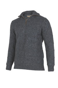 Zip and Collar Purl Stitch Sweater.   Rugged outdoor wear.