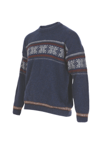 Crew Neck Jacquard Sweater.   Rugged outdoor wear.