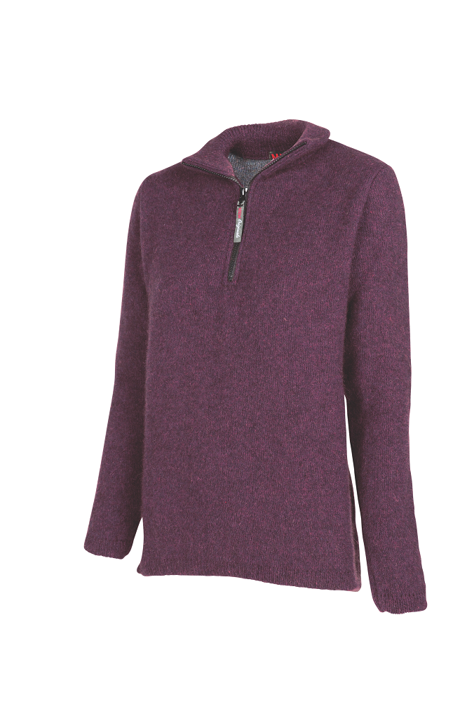 Possum and Merino  Womens half zip double layer sweater.  Rugged outdoor wear.
